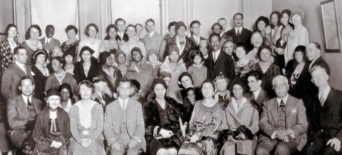 In the 1920s and 1930s, the Bahai community of the United States sponsored a series of 'race amity' conferences and meetings, like this one held by the New York Bahai Assembly and the New York Urban League in New York City in 1930.